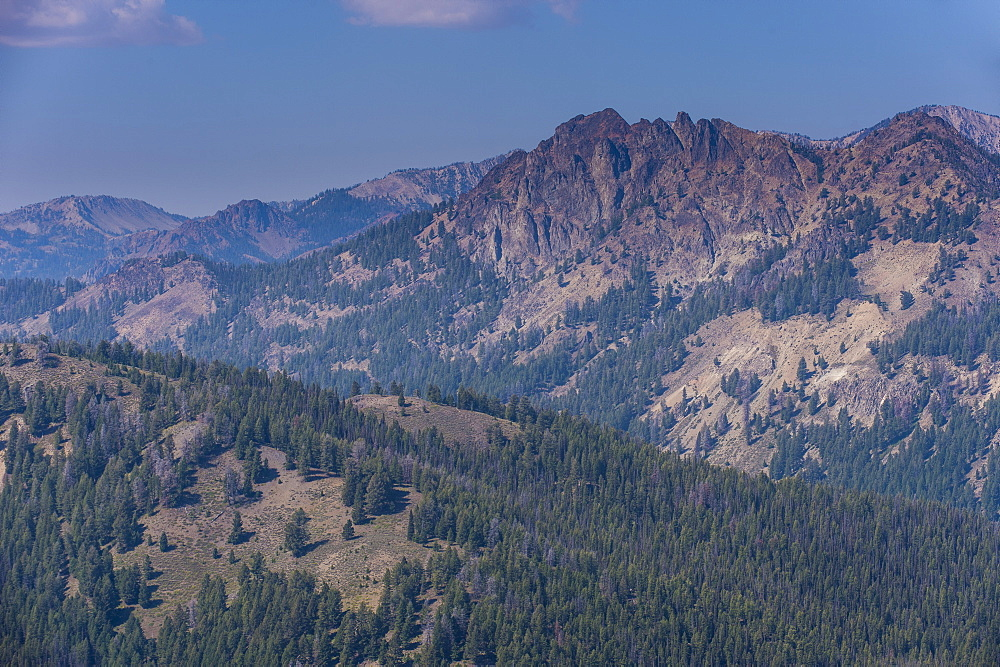 View over the Sawtooth National Forest north of Sun Valley, Idaho, United States of America, North America