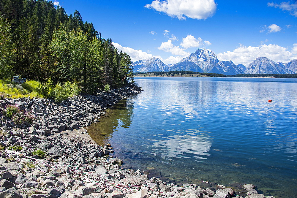 Jackson Lake in the Teton range in the Grand Teton National Park, Wyoming, United States of America, North America