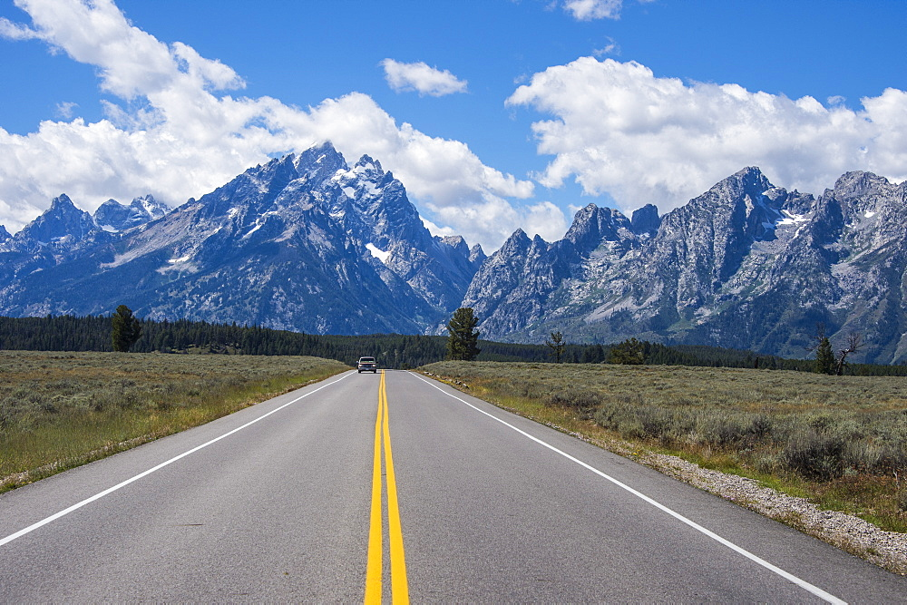 Road leading in the Teton range in the Grand Teton National Park, Wyoming, United States of America, North America