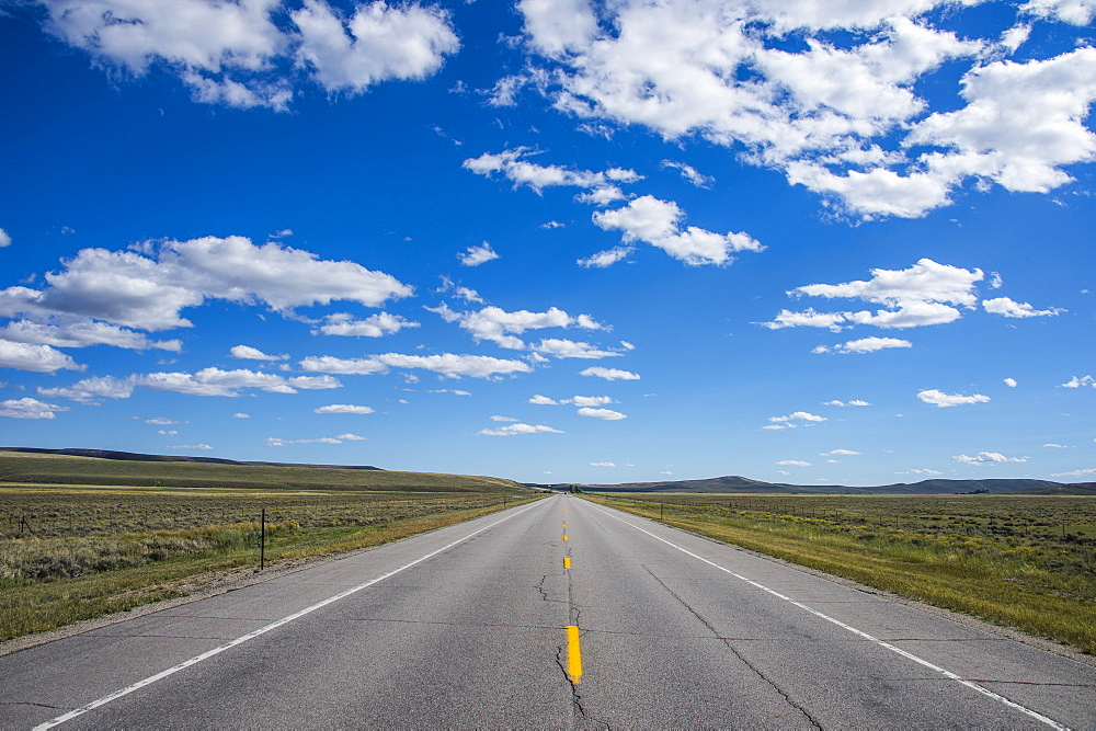 Long straight road in southern Wyoming, United States of America, North America
