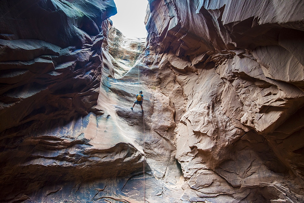 Man rapelling down in slot canyon, canyoneering, Moab, Utah, United States of America, North America