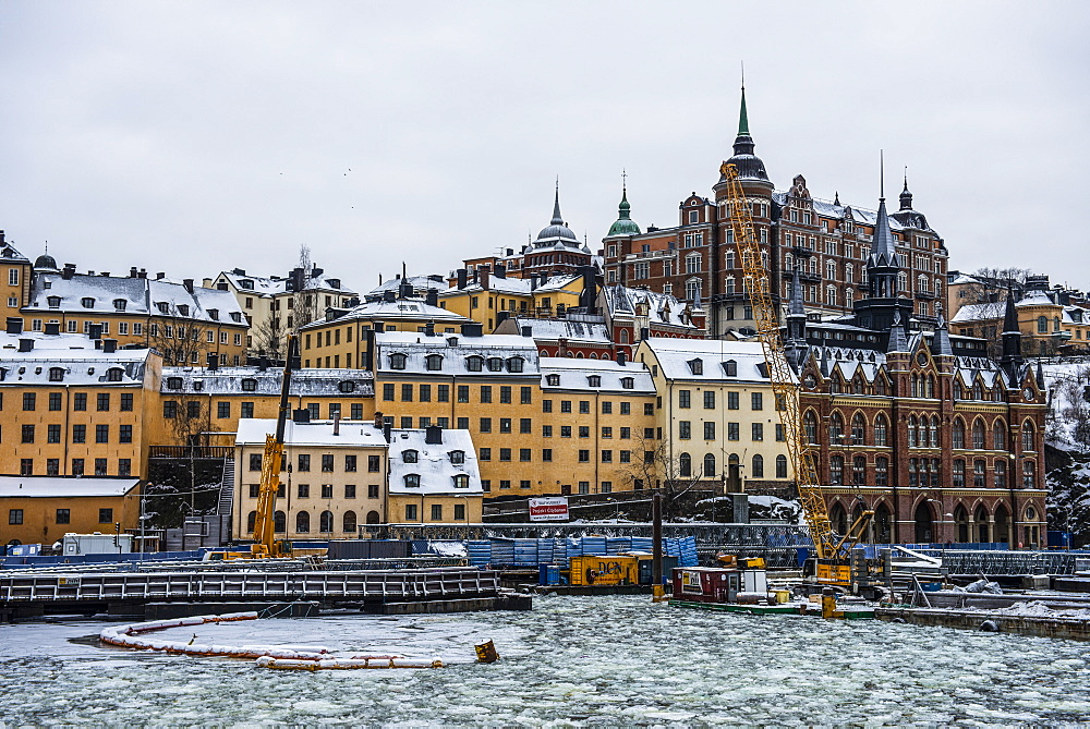 Frozen waterway in the old quarter of Stockholm, Sweden