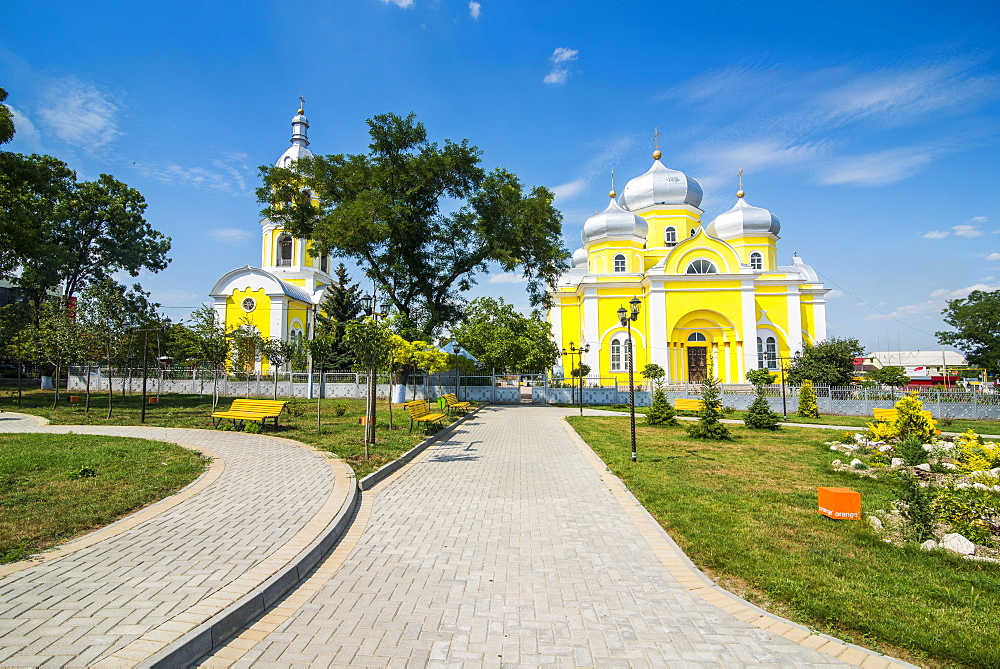 Park before the Russian Orthodox Church building in the center of Comrat capitol of republic of Gagauzia, Moldova