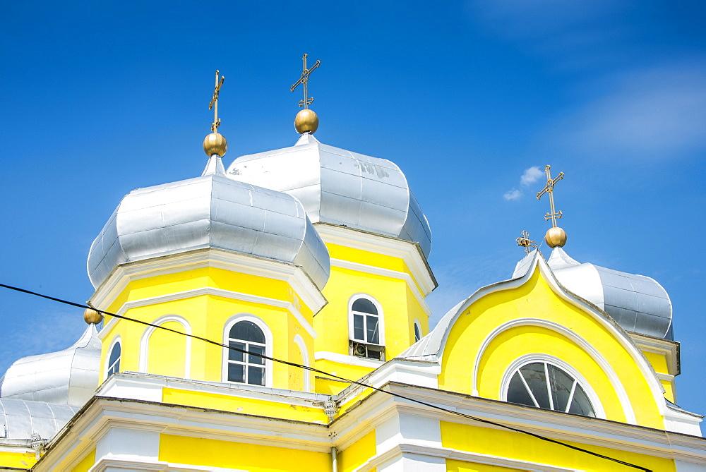 Russian Orthodox Church building in the center of Comrat capitol of republic of Gagauzia, Moldova