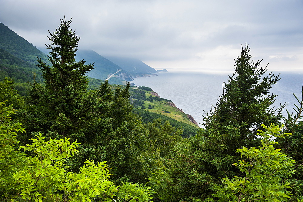 View over the coastline of the Cape Breton Highlands National Park, Cape Breton Island, Nova Scotia, Canada, North America