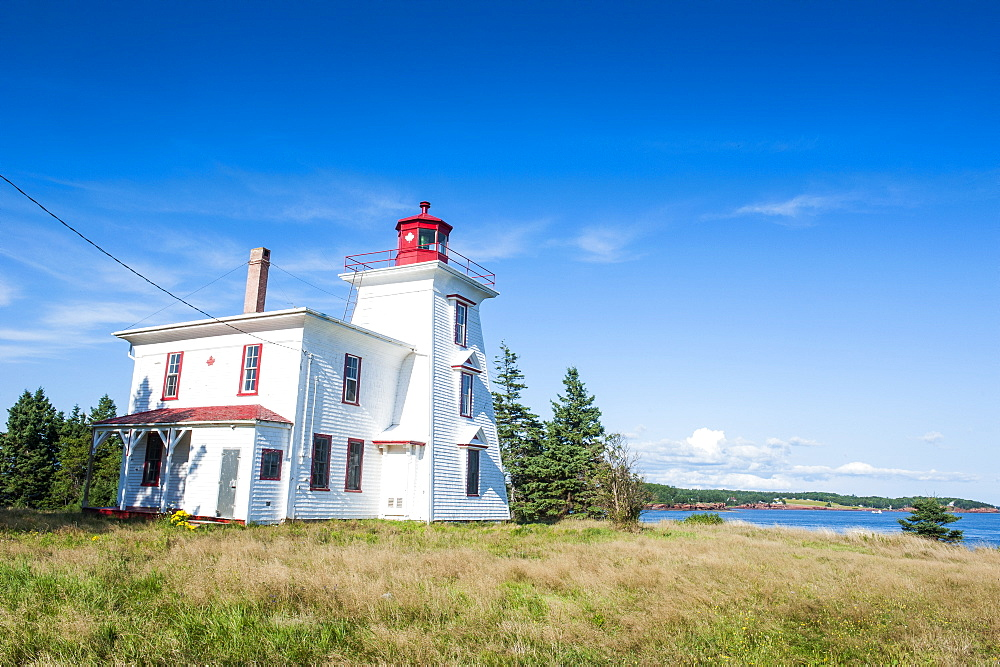 Blockhouse lighthouse in the bay of Charlottetown, Prince Edward Island, Canada, North America