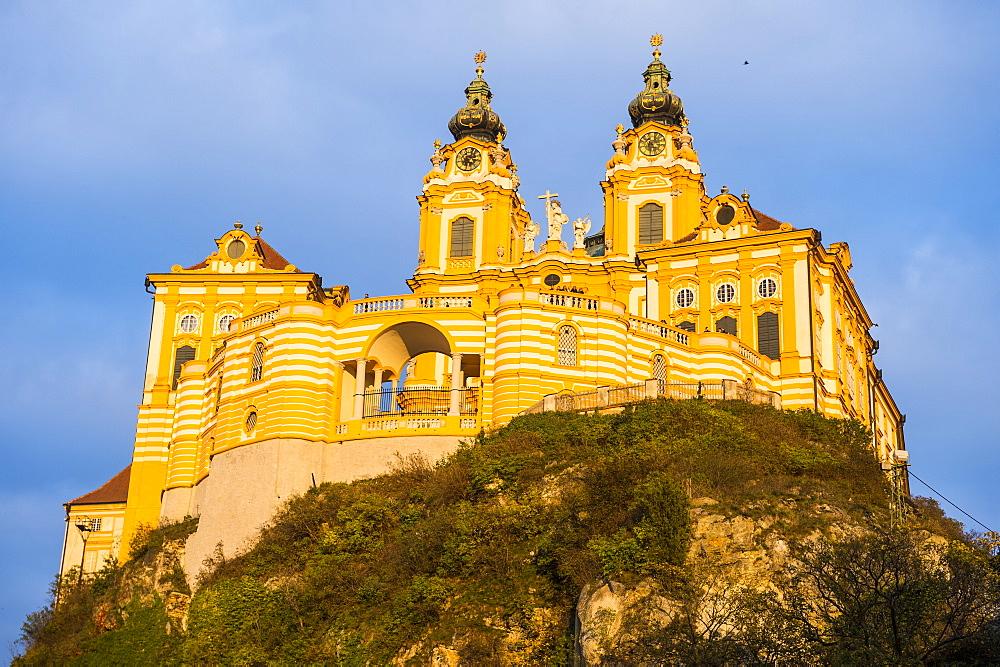 Melk Abbey at sunset, Melk, Wachau Cultural Landscape, UNESCO World Heritage Site, Danube, Wachau, Austria, Europe