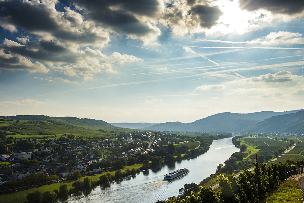 Cruise ship in backlight on the Moselle River near Wintrich, Moselle Valley, Rhineland-Palatinate, Germany, Europe