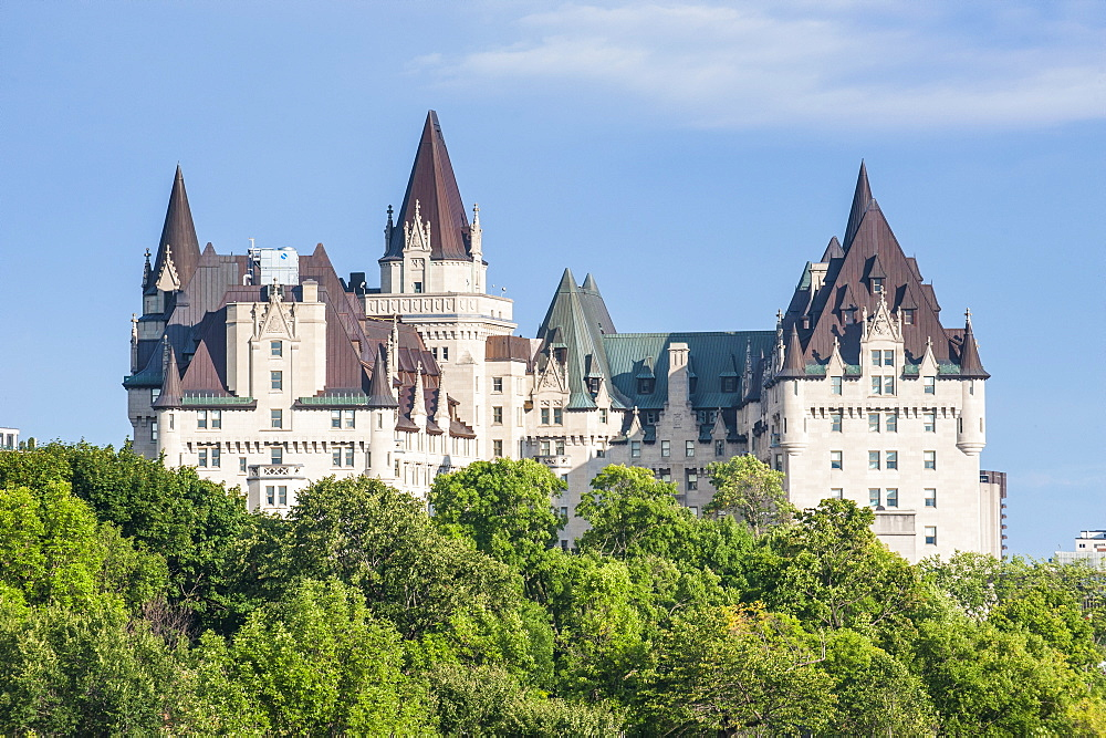 View over Chateau Laurier from Nepean Point, Ottawa, Ontario, Canada, North America