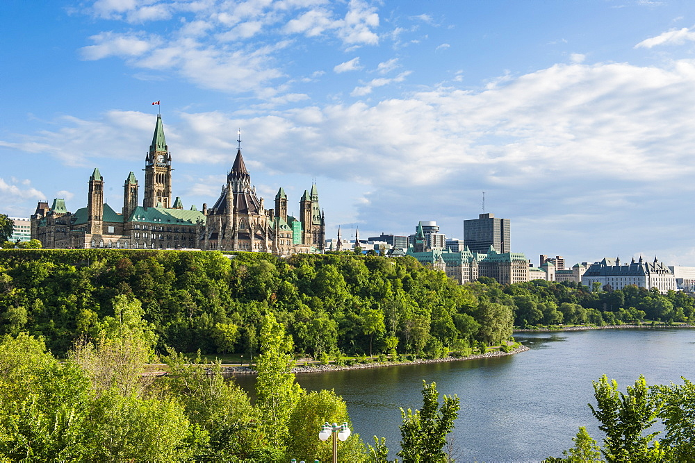 View over Ottawa with its Parliament Centre Block from Nepean Point, Ottawa Ontario, Canada, North America