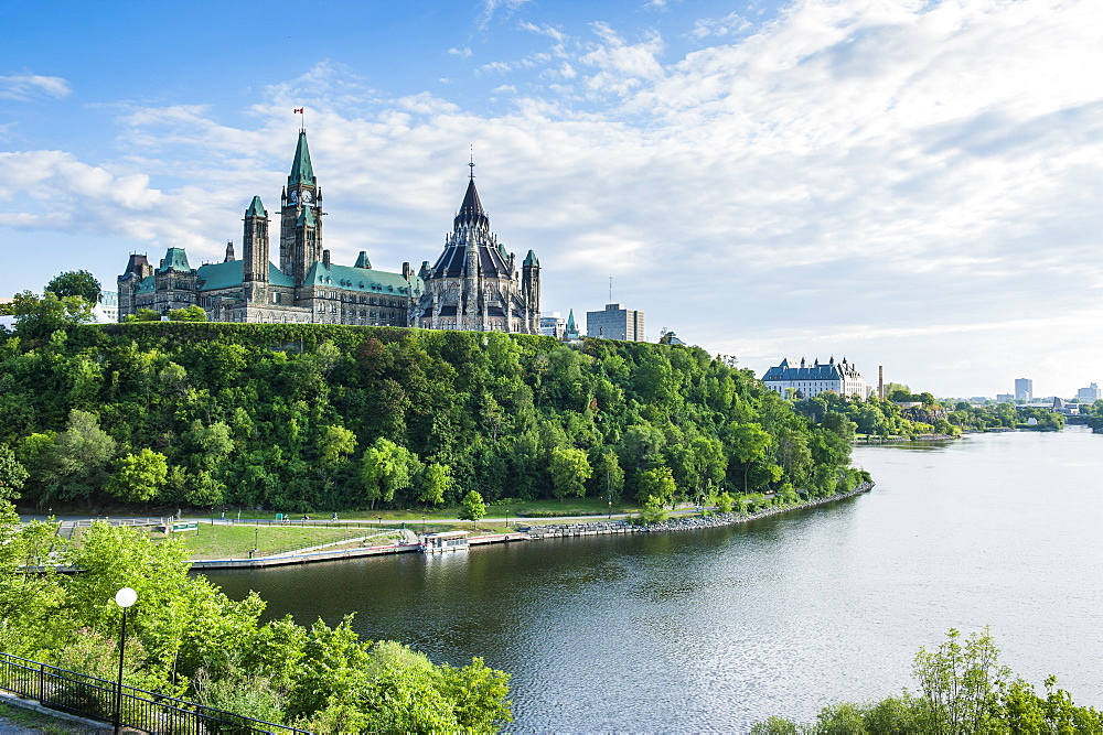 View over Ottawa with its Parliament Centre Block from Nepean Point, Ottawa, Ontario, Canada, North America