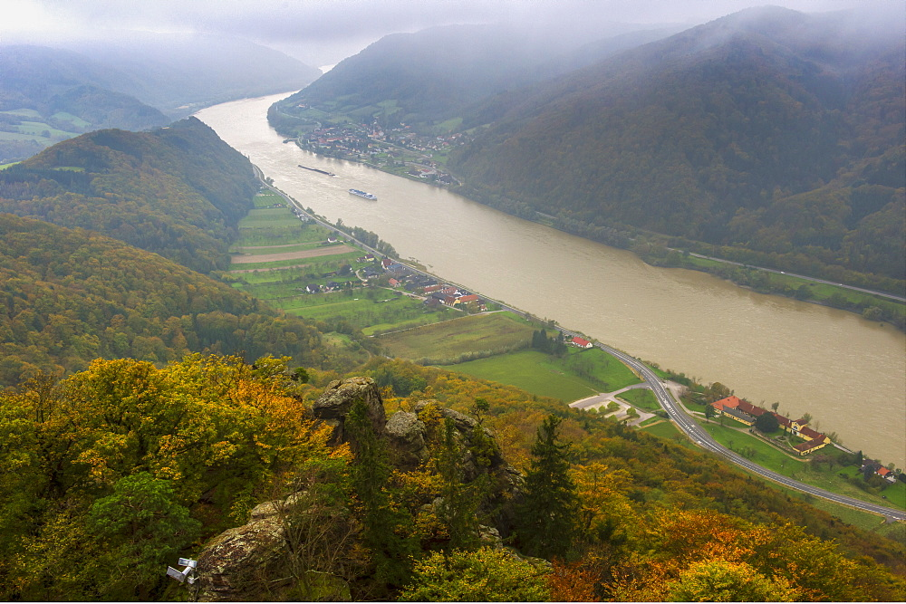 View from castle Aggstein down on the Danube River in fall, Wachau Cultural Landscape UNESCO World Heritage Site, Austria, Europe