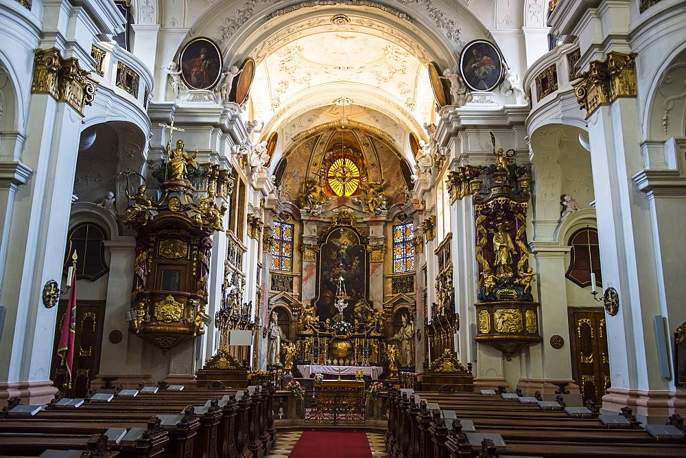 Interior of the Abbey Church of Duernstein, Danube, Wachau Cultural Landscape, UNESCO World Heritage Site, Austria, Europe