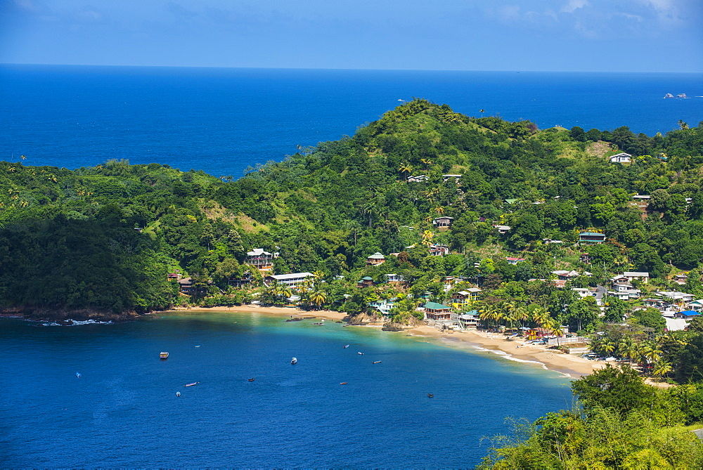 View over the bay of Castara, Tobago, Trinidad and Tobago, West Indies, Caribbean, Central America