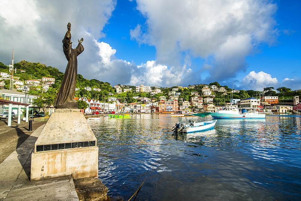 St. George's statue in the inner harbour of St. Georges, capital of Grenada, Windward Islands, West Indies, Caribbean, Central America