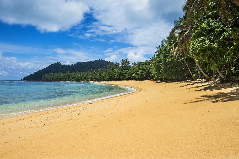 Beach of Praia Cabana in the south coast of Sao Tome, Sao Tome and Principe, Atlantic Ocean, Africa