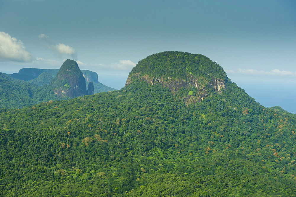 Aerial view of the UNESCO Biosphere Reserve, Principe, Sao Tome and Principe, Atlantic Ocean, Africa