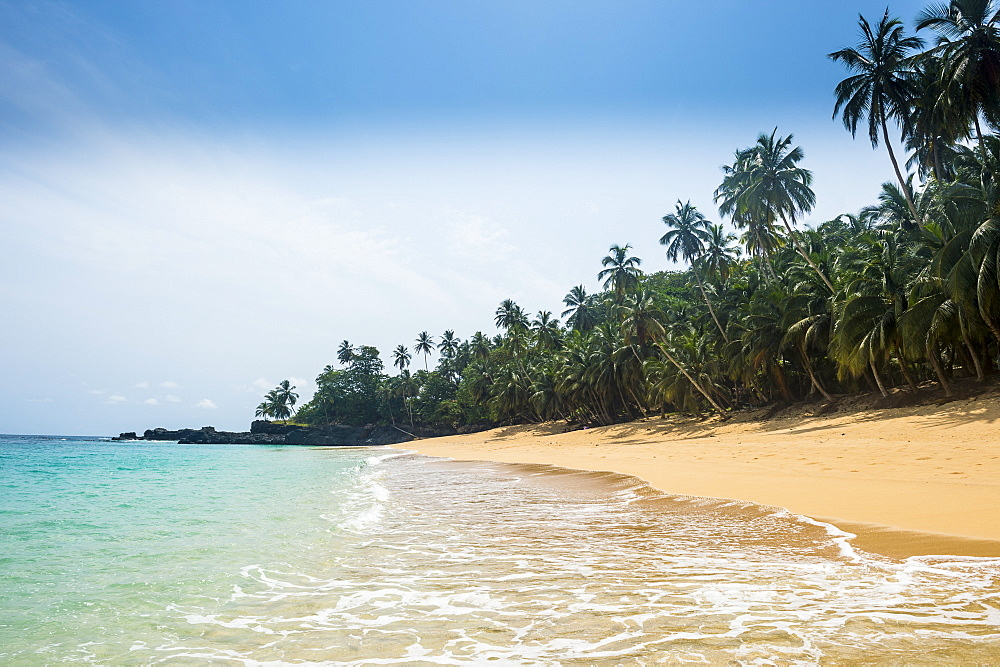 Remote tropical beach on the UNESCO Biosphere Reserve, Principe, Sao Tome and Principe, Atlantic Ocean, Africa