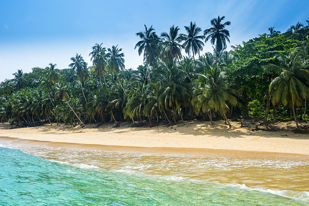 Remote tropical beach on the UNESCO Biosphere Reserve Principe, Sao Tome and Principe, Atlantic Ocean, Africa