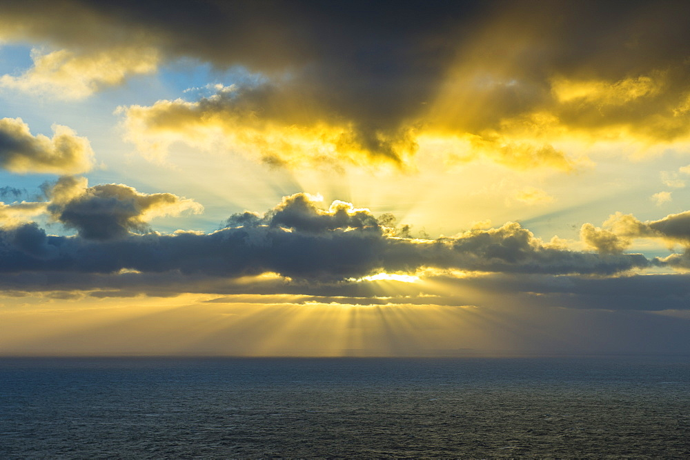 Rays breaking through the clouds at Europe´s most western point, Cabo da Roca, Portugal, Europe