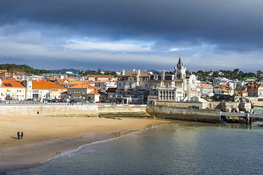 Beach of Praia do Peixe on the seafront of the seaside town of Cascais, Portugal, Europe