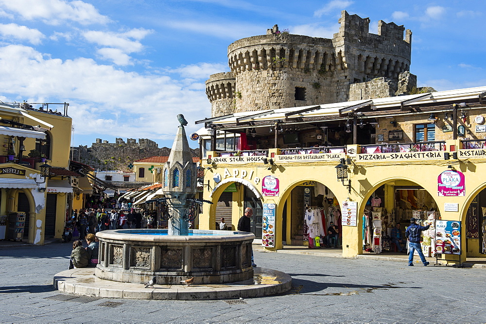 Medieval fountain at Hippokratous Square, the Medieval Old Town, UNESCO World Heritage Site, City of Rhodes, Rhodes, Dodecanese Islands, Greek Islands, Greece, Europe
