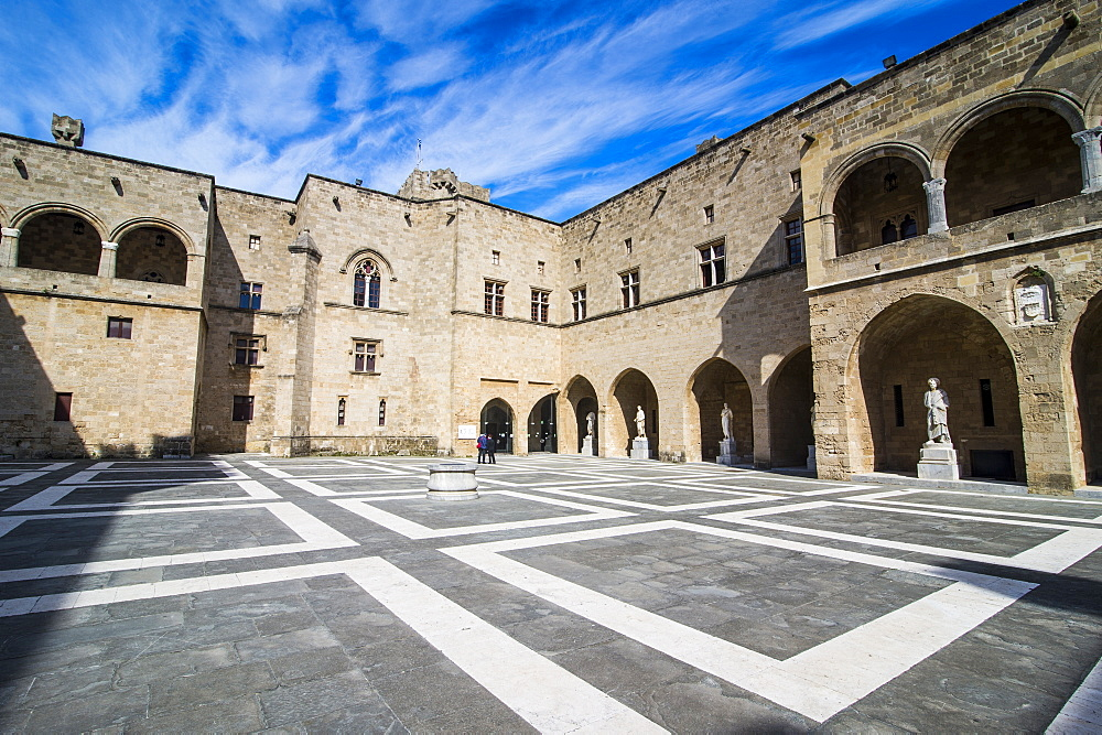 Yard in the Palace of the Grand Master, the Medieval Old Town of the City of Rhodes, UNESCO World Heritage Site, Rhodes, Dodecanese Islands, Greek Islands, Greece, Europe - 816-8446