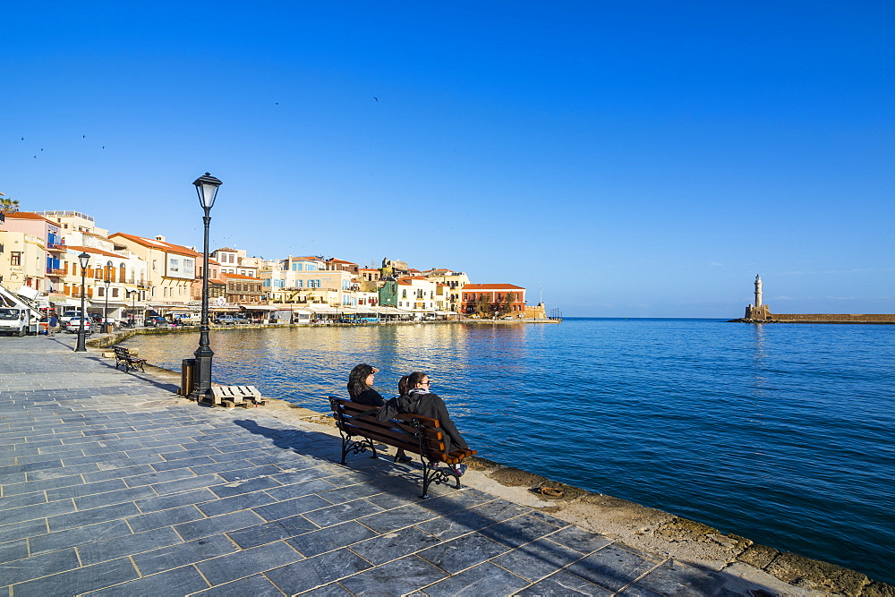 Venetian harbour of Chania, Crete, Greek Islands, Greece, Europe