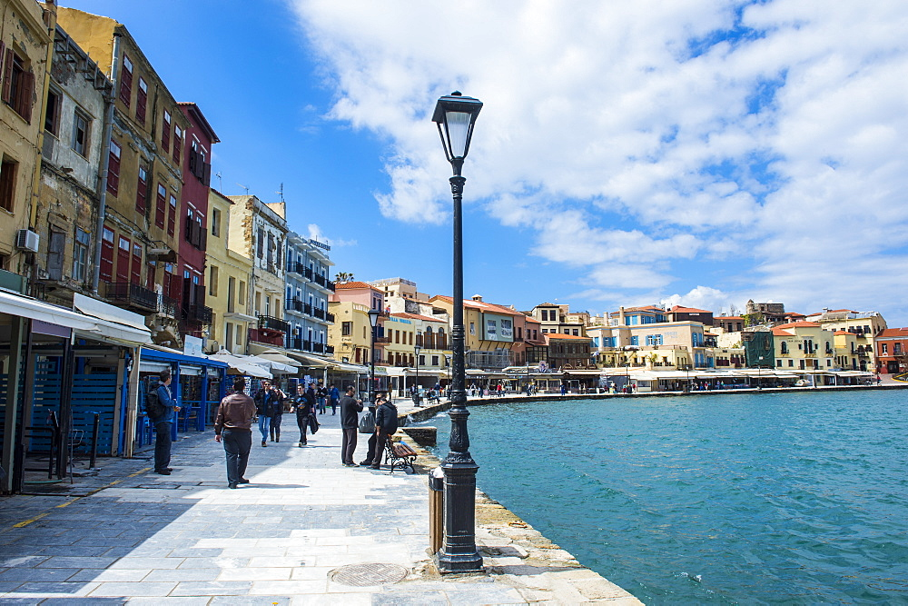 View of the Venetian port of Chania, Crete, Greek Islands, Greece, Europe