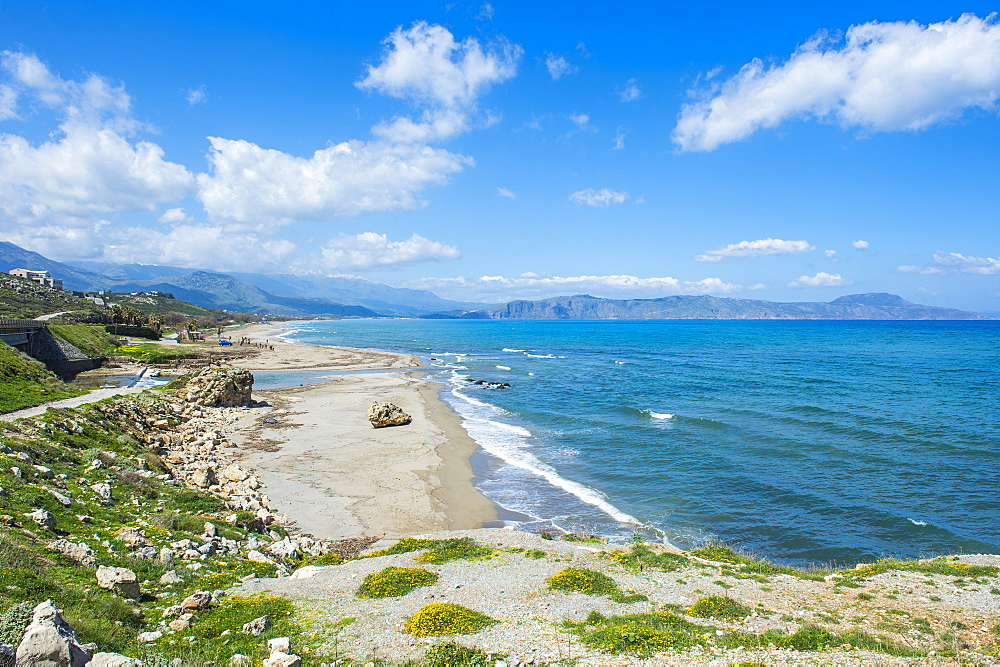 Long sandy beach of Petres, Crete, Greek Islands, Greece, Europe