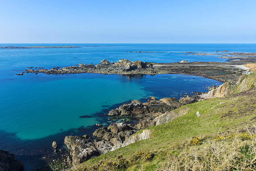 View over Fort Clonque, Alderney, Channel Islands, United Kingdom, Europe