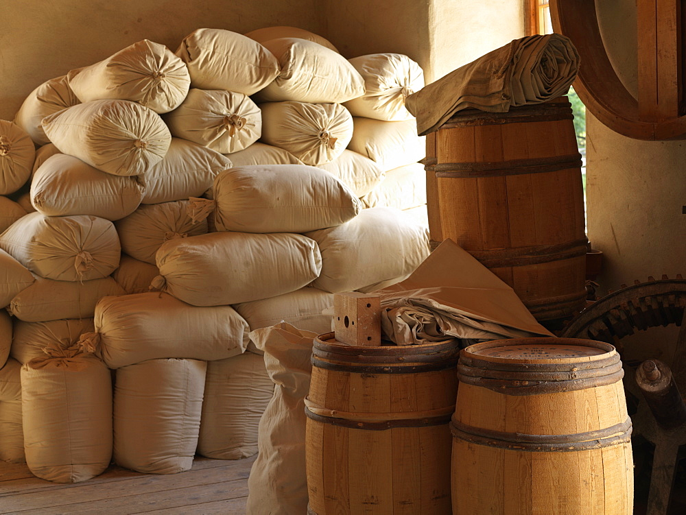 Upper Canada Village, stacked bags of flour at the Bellamy's Steam Flour Mill, Morrisburg, Ontario, Canada, North America