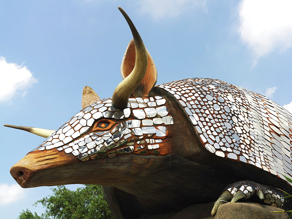 Sculpture of armadillo outside the famous Houston restaurant Armadillo's, Houston, Texas, United States of America, North America - 818-1280