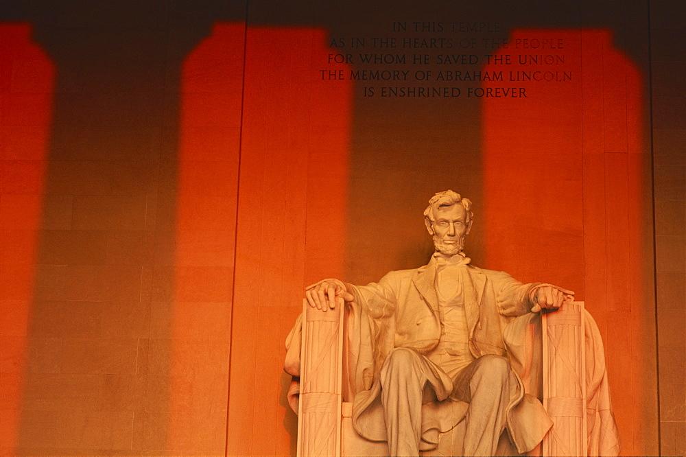 Lincoln Memorial,by sculptor Daniel Chester French, Washington D.C., United Statse of America, North America
