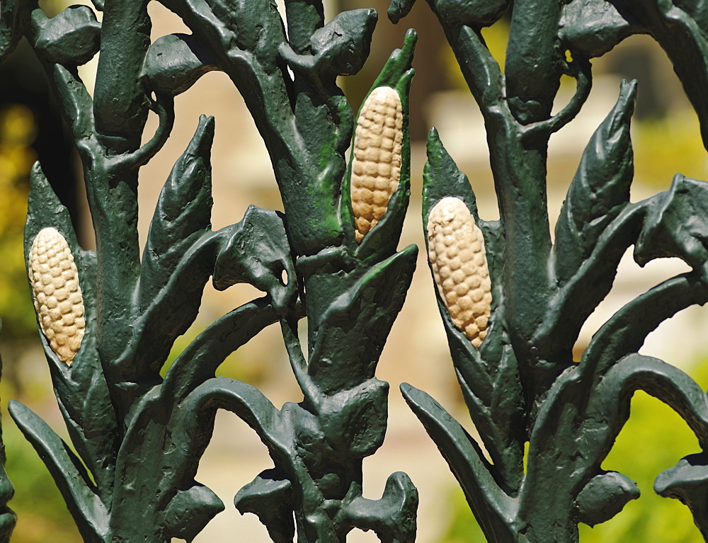 Wrought iron fence decorated with cornstalk design, French Quarter, New Orleans, Louisiana, United States of America, North America