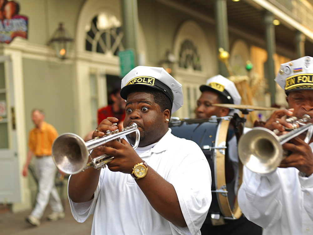 Trumpet player, second line parade, French Quarter, New Orleans, Louisiana, United States of American, North America - 818-452