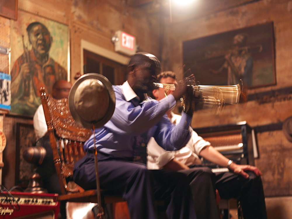 Trumpet player, Preservation Hall, French Quarter, New Orleans, Louisiana, United States of America, North America - 818-469
