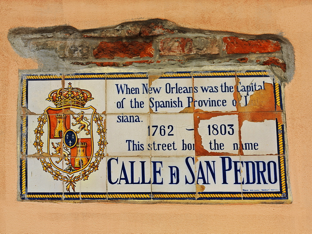 Street sign on side of building, French Quarter, New Orleans, Louisiana, United States of America, North America - 818-486
