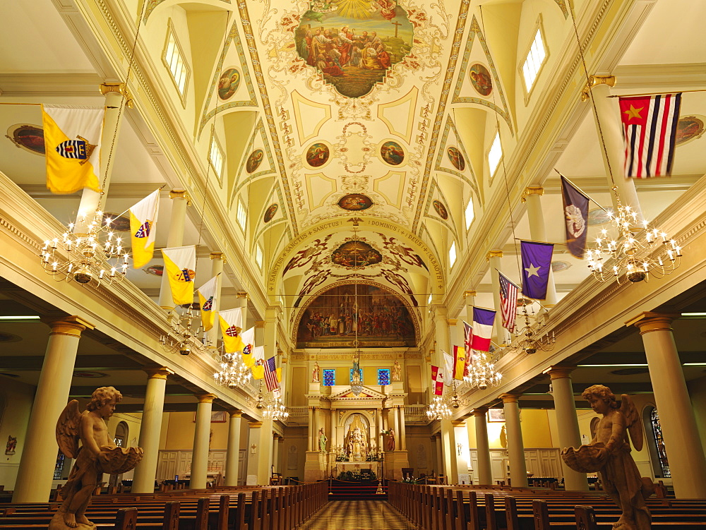 Interior of St. Louis Cathedral, Jackson Square, French Quarter, New Orleans, Louisiana, United States of America, North America - 818-493
