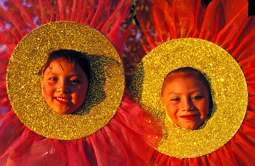 Two young girls in costume dressed as flowers celebrating a Rite of Spring celebration, Cozumel, Mexico, North America - 818-579