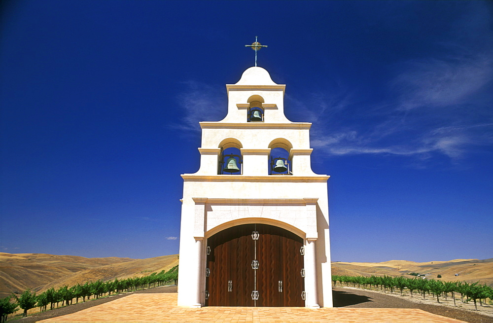 Spanish Mission style church on hill with grape vineyard, Paso Robles, California, United States of America, North America - 818-67