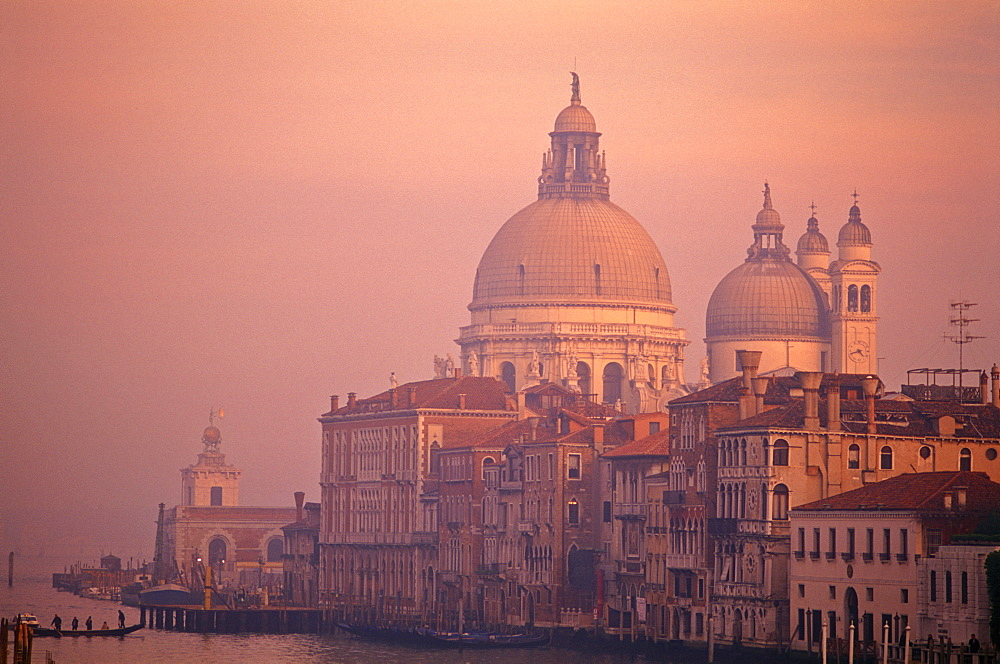 The Grand Canal with Santa Maria della Salute at dusk, Venice, UNESCO World Heritage Site, Veneto, Italy, Europe - 818-762