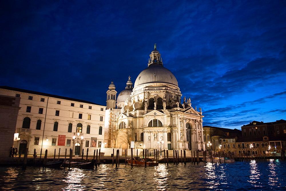 Santa Maria della Salute church at dusk, Grand Canal, Venice, UNESCO World Heritage Site, Veneto, Italy, Europe