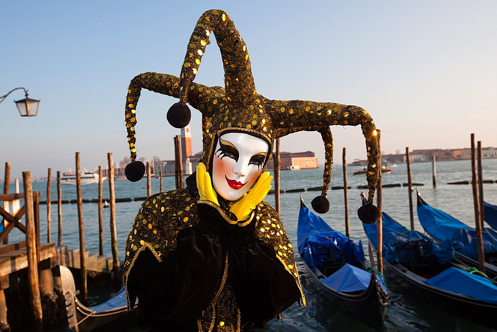 Carnival masks and costumes during Venice Carnival, St. Mark's Square, Venice, Veneto, Italy, Europe - 819-452