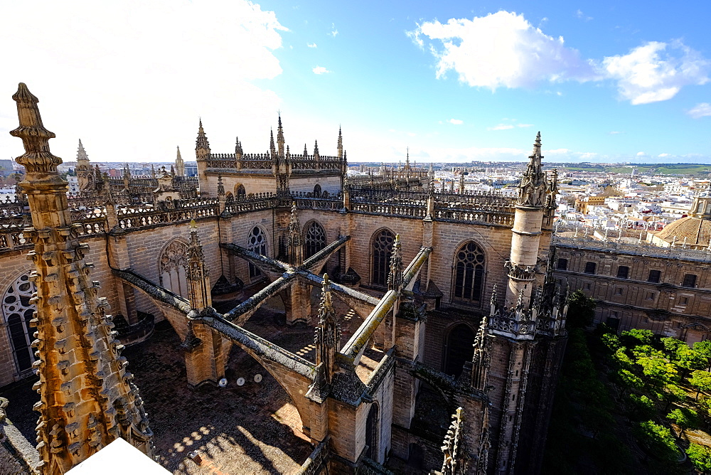 Seville Cathedral seen from Giralda bell tower, UNESCO World Heritage Site, Seville, Andalucia, Spain, Europe