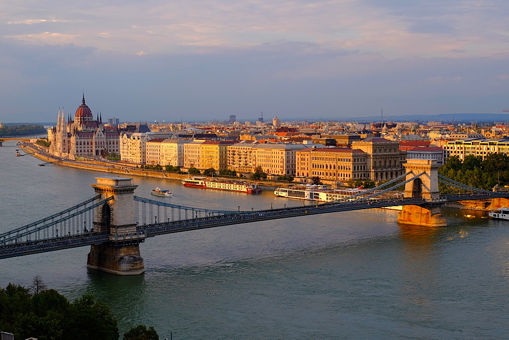 View of Pest, the Danube River and the Chain bridge (Szechenyi hid), from Buda Castle, Budapest, Hungary, Europe