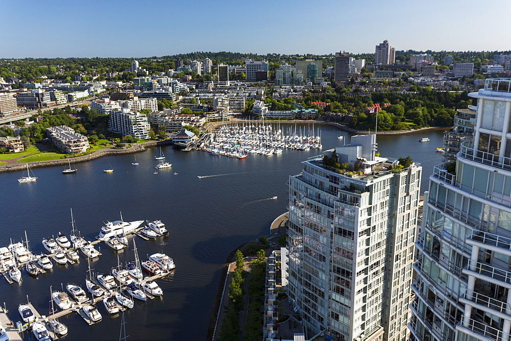 Aerial view, False Creek, Vancouver, British Columbia, Canada, North America - 821-253
