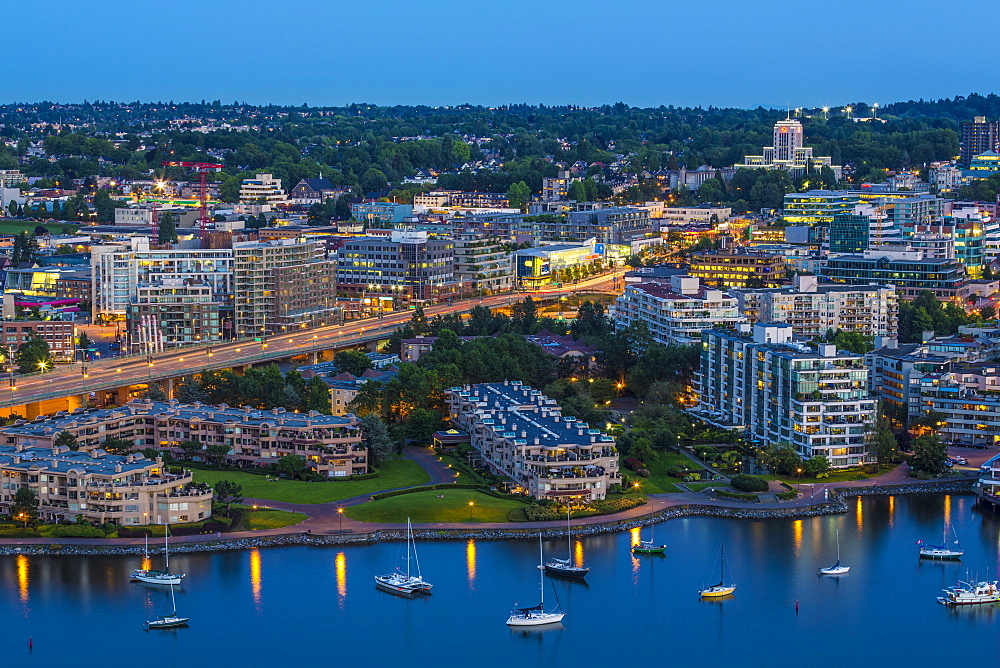 Aerial view at dusk, showing Cambie Street Bridge, Fairview, False Creek, and City Hall, Vancouver, BC, Canada - 821-255