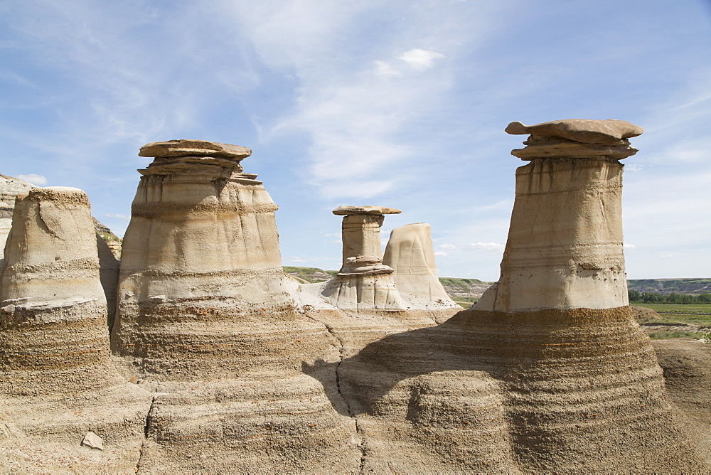 The hoodoos, rock formations formed by the erosion of Bentonite, in the Badlands close to Drumheller in Alberta, Canada, North America