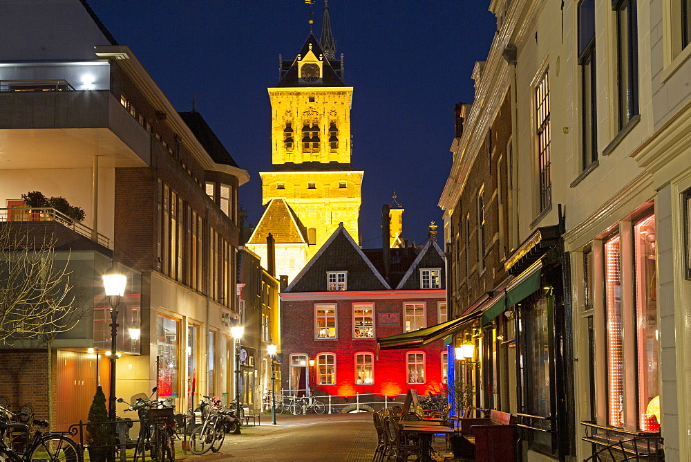 The tower of Delft Town Hall (Stadhuis) and Dutch Gold Age facades in Delft, South Holland, The Netherlands, Europe
